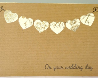 Wedding congratulations card - personalised wedding card - rustic wedding day greeting - cream gold heart bunting anniversary card - UK