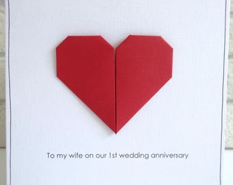 1st anniversary card etsy 1st wedding anniversary card romantic personalised paper anniversary greeting card husband wife red origami heart free uk delivery m4hsunfo