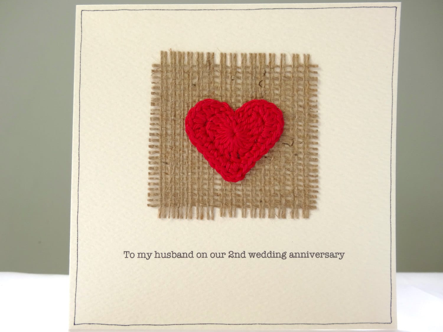 2nd Wedding Anniversary Card Romantic Hessian And Red Heart Etsy