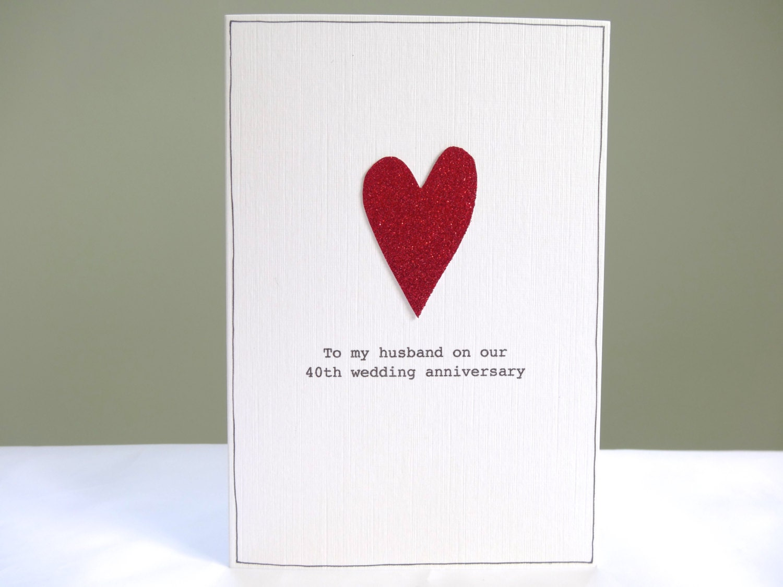 40th Anniversary Card Personalised Ruby Wedding Anniversary Etsy