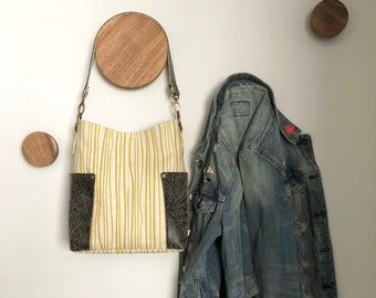Compass Slouchy Hobo Tote - Chartreuse Seagrass and Distressed Faux Leather