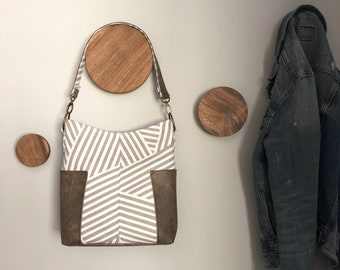 Compass Slouchy Hobo Tote - Gray Stripe and Chocolate Faux Leather