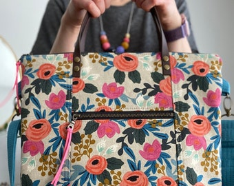 Rifle Paper Co Floral Rosa Natural - Redwood Tote Crossbody Everyday Purse - PRE-ORDER - BESU Handmade