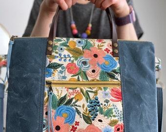 Rifle Paper Co Floral Garden Party Blue Waxed Canvas - PRE-ORDER - Redwood Tote Crossbody Everyday Handbag Purse - BESU Handmade