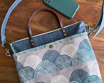 Waxed Canvas Hillside Tote Crossbody - Imagined Landscapes Headlands Orion Blue Mountains - BESU Handmade