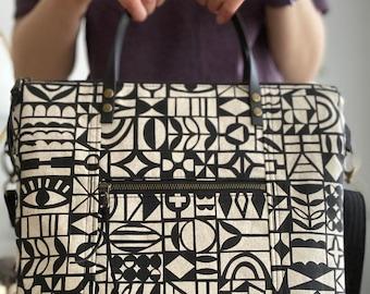 PRE-ORDER - Black Papercut Geometric - Redwood Tote Crossbody Everyday Purse - BESU Handmade
