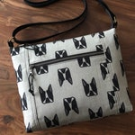 Boston Terrier Purse BESU Traverse Zipper Top Crossbody Travel Bag with Pockets - Gray - Made To Order
