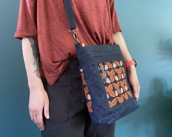 Waxed Canvas Aspen Crossbody Bag - Navy Blue & Rust Orange Strawberry - BESU Handmade