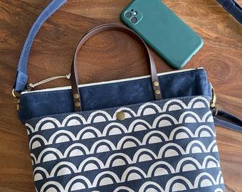 Waxed Canvas Hillside Crossbody Handbag Tote - Navy Blue Sunset Circles - BESU Handmade