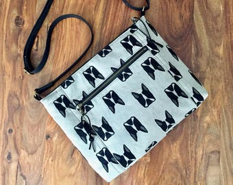 Traverse Crossbody Bag - Gray Boston Terrier - Made To Order