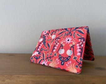 Card Wallet - Rifle Paper Co Pink Floral Amalfi Freja Rose - Gift Card Holder - BESU Handmade