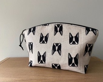 Boston Terrier - Large Curvy Zip Pouch Clutch - Black & Natural Polka Dots - BESU Handmade - MADE to ORDER