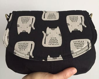 Small Saddle Bag - Kitty Cat - Made to Order