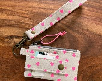 Card Holder Zip Pouch Wallet with Keyring Wristlet - Neon Pink Hearts - BESU Handmade