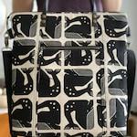 Black Geometric Grumpy Whales - Redwood Tote Crossbody Everyday Purse - BESU Handmade
