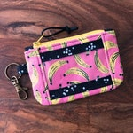 ID Zip Pouch Wallet with Snap Pocket - Pink Bananas and Polka Dots - Black & Yellow - Wristlet | Lanyard Option