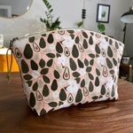 Reserved for Kim - Large Curvy Zip Pouch - Pink Avocado Blossom