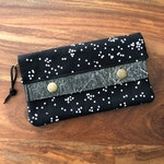 Long Minimalist Wallet - Black and White Scattered Dots
