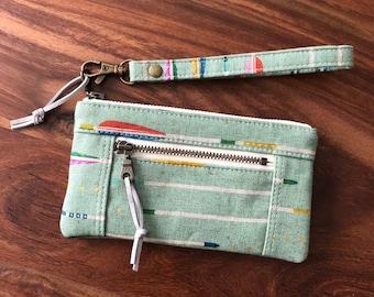 Mini Double Zip Pouch Wristlet - Green Metallic Canvas Arrows
