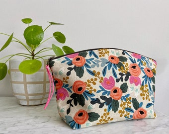 Large Curvy Zip Pouch - Rifle Paper Co Floral Rosa Natural - MADE TO ORDER