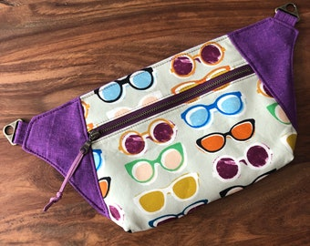 Fanny Pack Hip Pouch Sling Bum Bag - Summer Fun Retro Sunglasses - Purple and Navy Blue - BESU