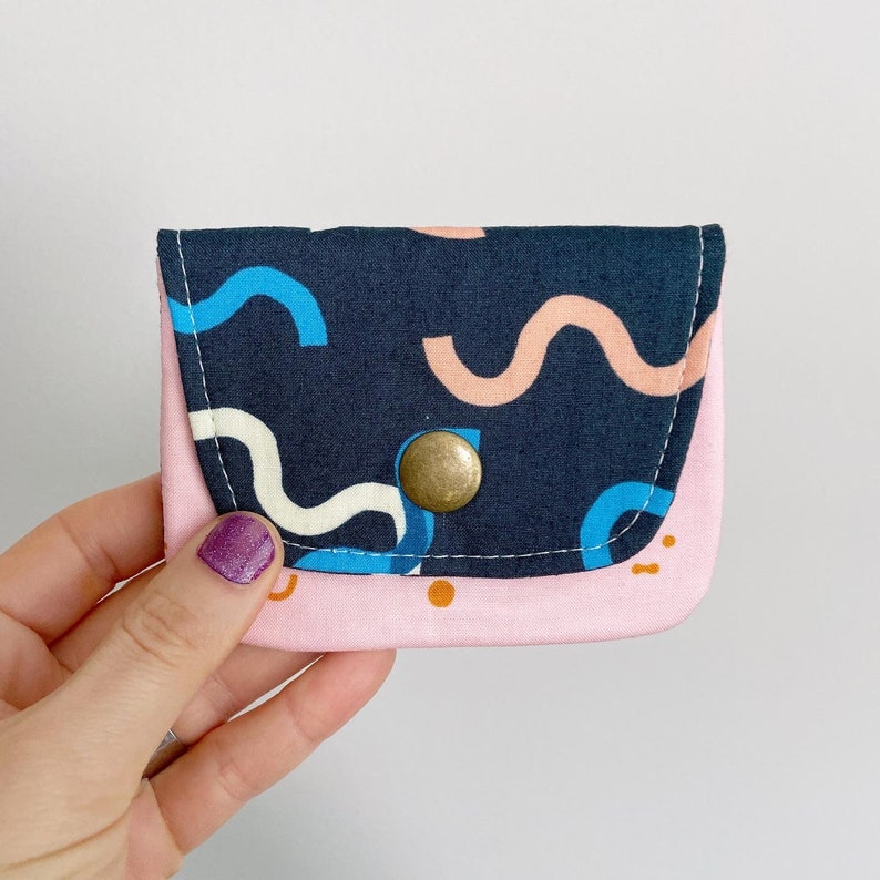 Card Case Snap Wallet  Navy Blue Squiggles and Faces  Pink image 0