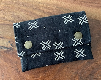 Double Snap Card Wallet - Black Linen Mudcloth - BESU Handmade