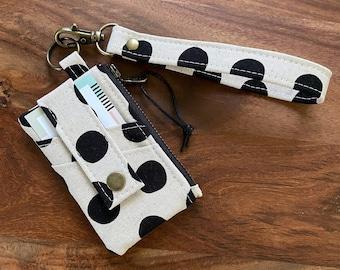 Card Holder Zip Pouch Wallet with Keyring Wristlet - Black Polka Dot Canvas - BESU Handmade