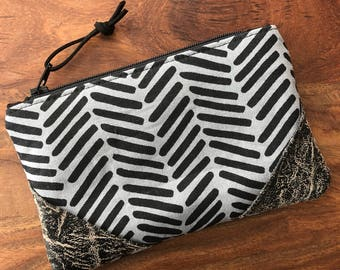 Small Zip Pouch - Steel Grey Herringbone