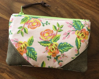 Rifle Paper Co Pink Floral - Small Zip Pouch - Coin Purse - Small Wallet - BESU Handmade
