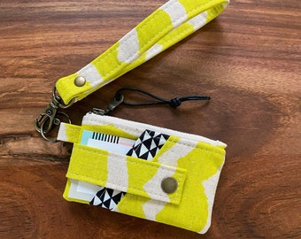 Card Holder Zip Pouch Wallet with Keyring Wristlet - Kujira & Star Citron Black and White Triangles - BESU Handmade