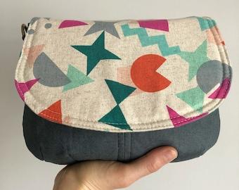 Small Saddle Crossbody Bag - Paper Cuts Shape Up Gem