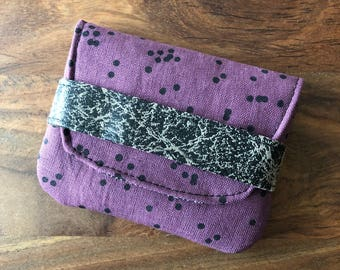 Card Case - Dark Plum Scattered Polka Dots