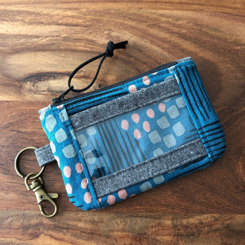 ID Zip Pouch Wallet with Snap Pocket  Blue Abstract Stripes wallet only