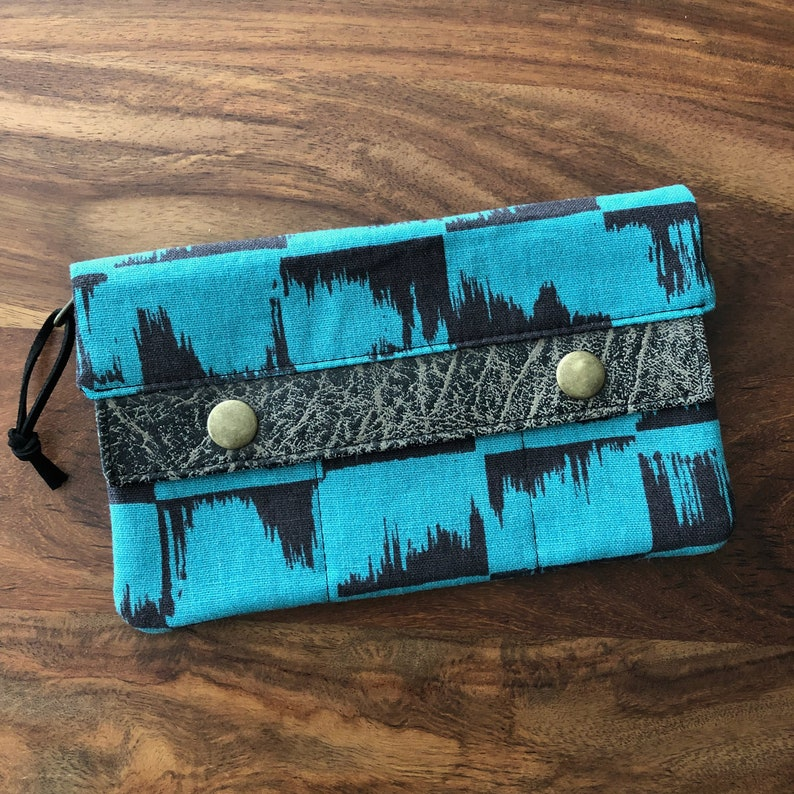 Long Minimalist Wallet  Teal and Black Brushstrokes image 0