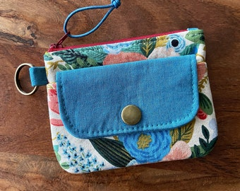Rifle Paper Co Garden Party Floral & Teal Blue - Snap Flap Zip Pouch Keyring Wallet - BESU Handmade