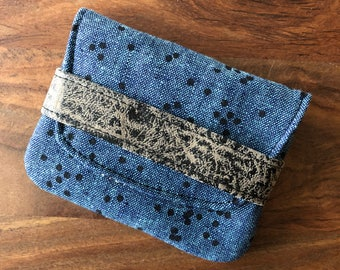 Card Case - Peacock Blue Scattered Dots