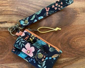 Card Holder Zip Pouch Wallet with Keyring Wristlet - Rifle Paper Co Amalfi Herb Garden Midnight Black Canvas - BESU Handmade