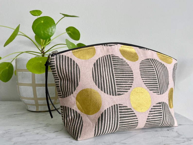 Large Curvy Zip Pouch  Pink Gray Metallic Gold Polka Dot image 0