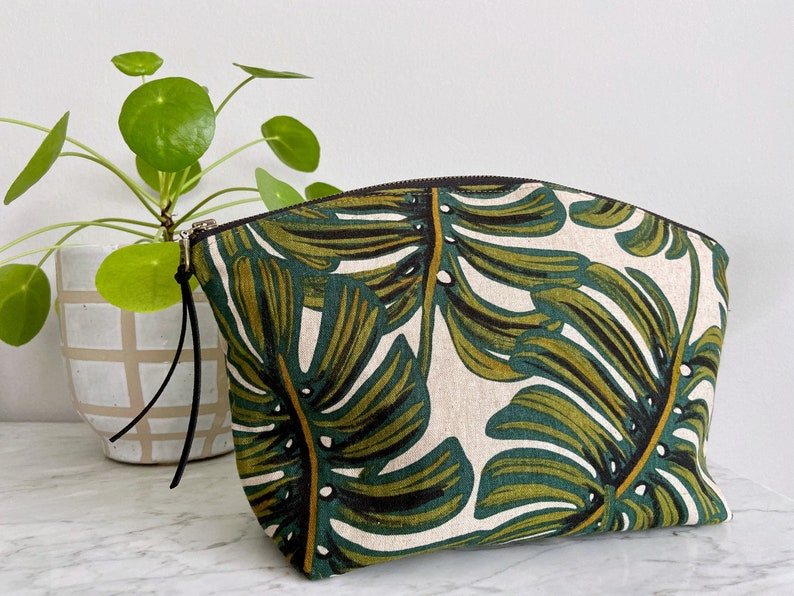 Large Curvy Zip Pouch  Tropical Green Monstera Leaf Rifle image 0