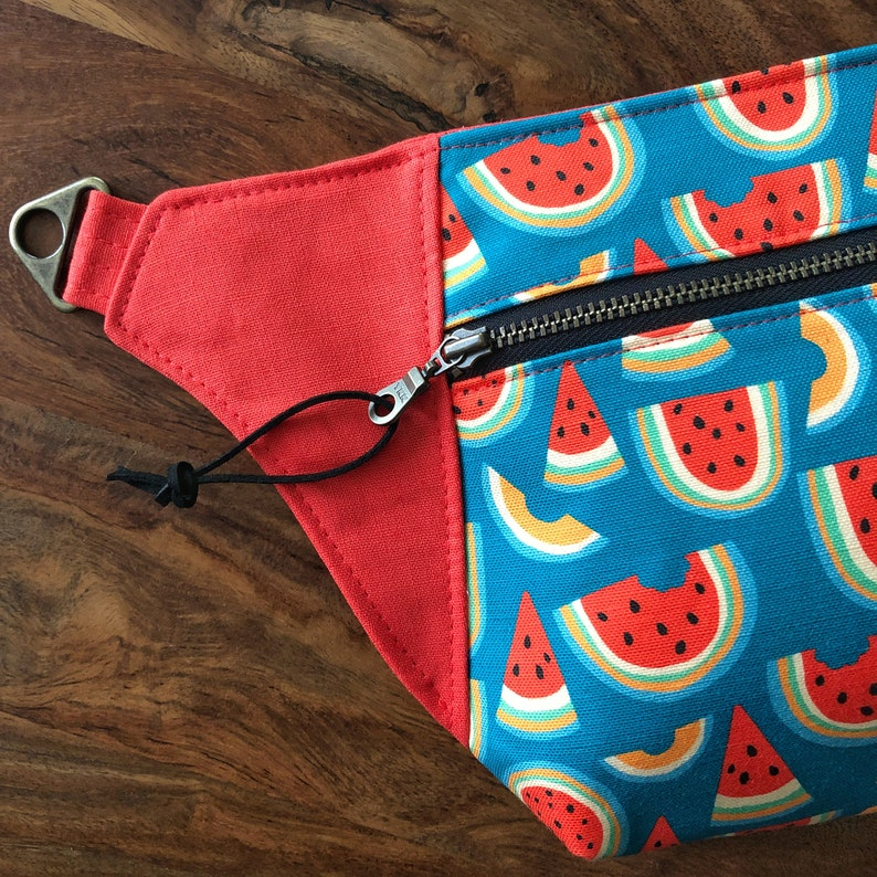 Fanny Pack Hip Pouch Sling Bum Bag  Blue & Red Summer Melon  image 0