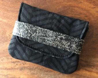 Card Case - Monochrome Black Herringbone