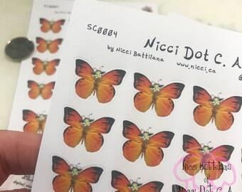 Planner Sticker Sheet ~ ALICE in Wonderland ~ Absolum Butterfly (orange wings)