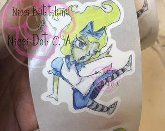 Alice falling down the rabbit hole! ~ STICKER