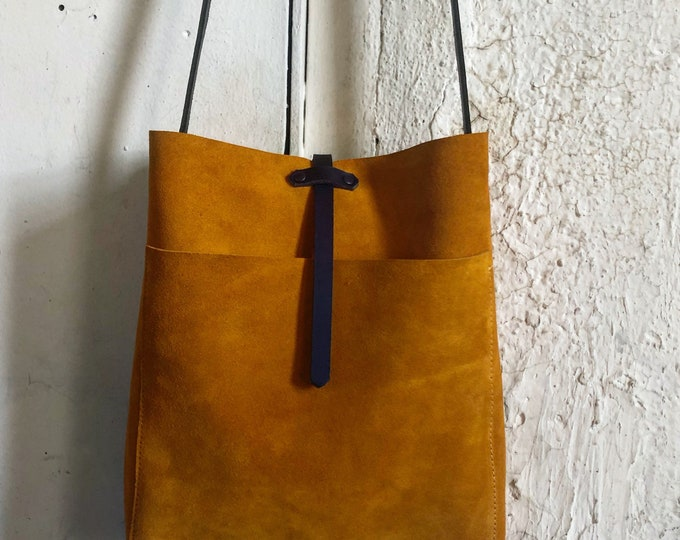 Suede saffron bucket bag
