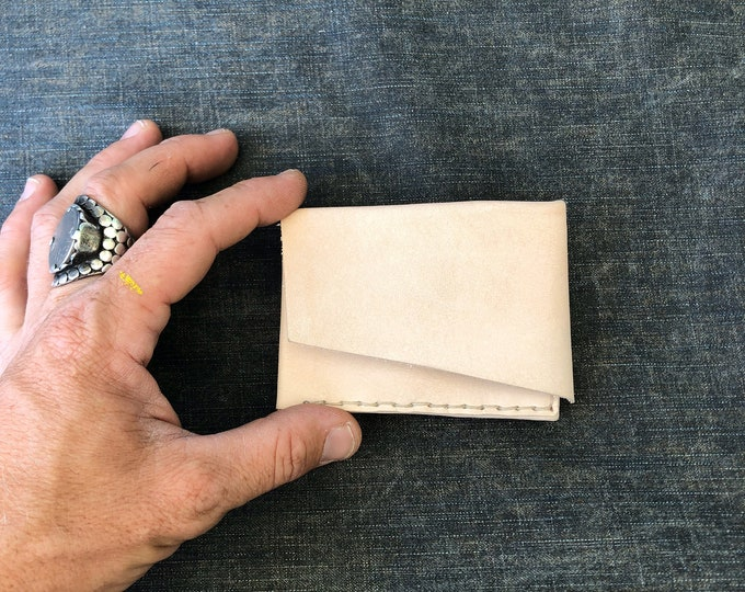 origami billfold in natural veg-tan