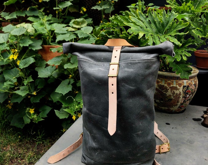 gray waxed rolltop rucksack