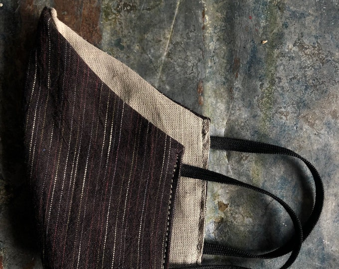 cloth mask in brown stripe and taupe