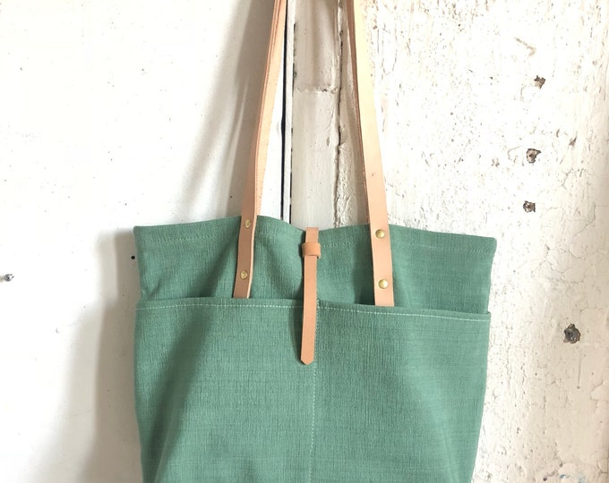 Rio tote in linen and leather