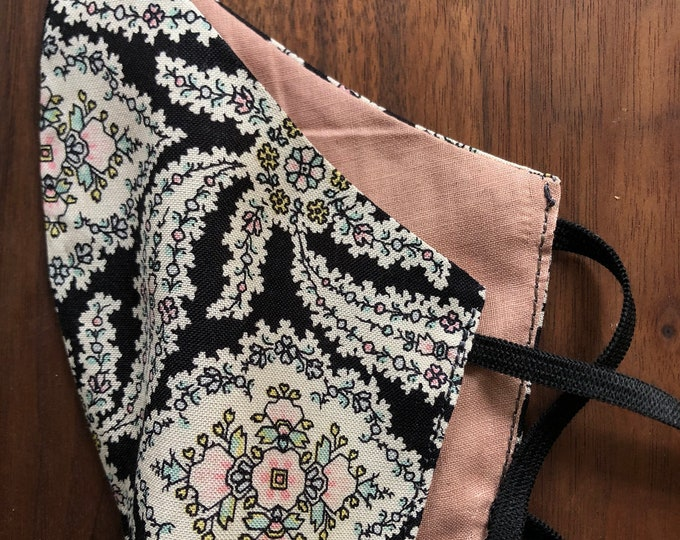 cloth mask black floral and pink